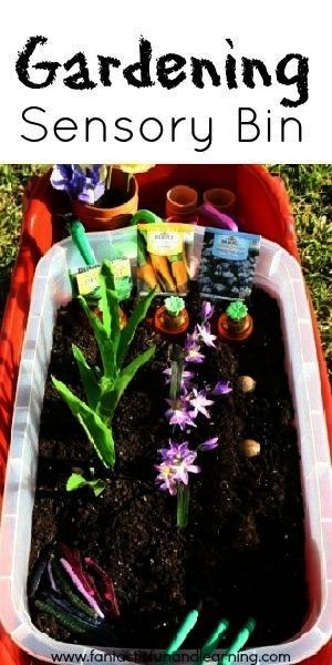 Garden Sensory Bin Ideas. Perfect for when I am in the garden!