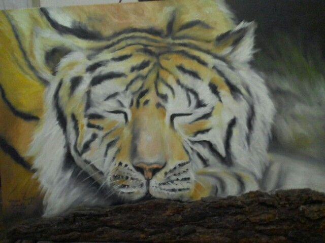 Tigre siberiano,oleo sobre tela