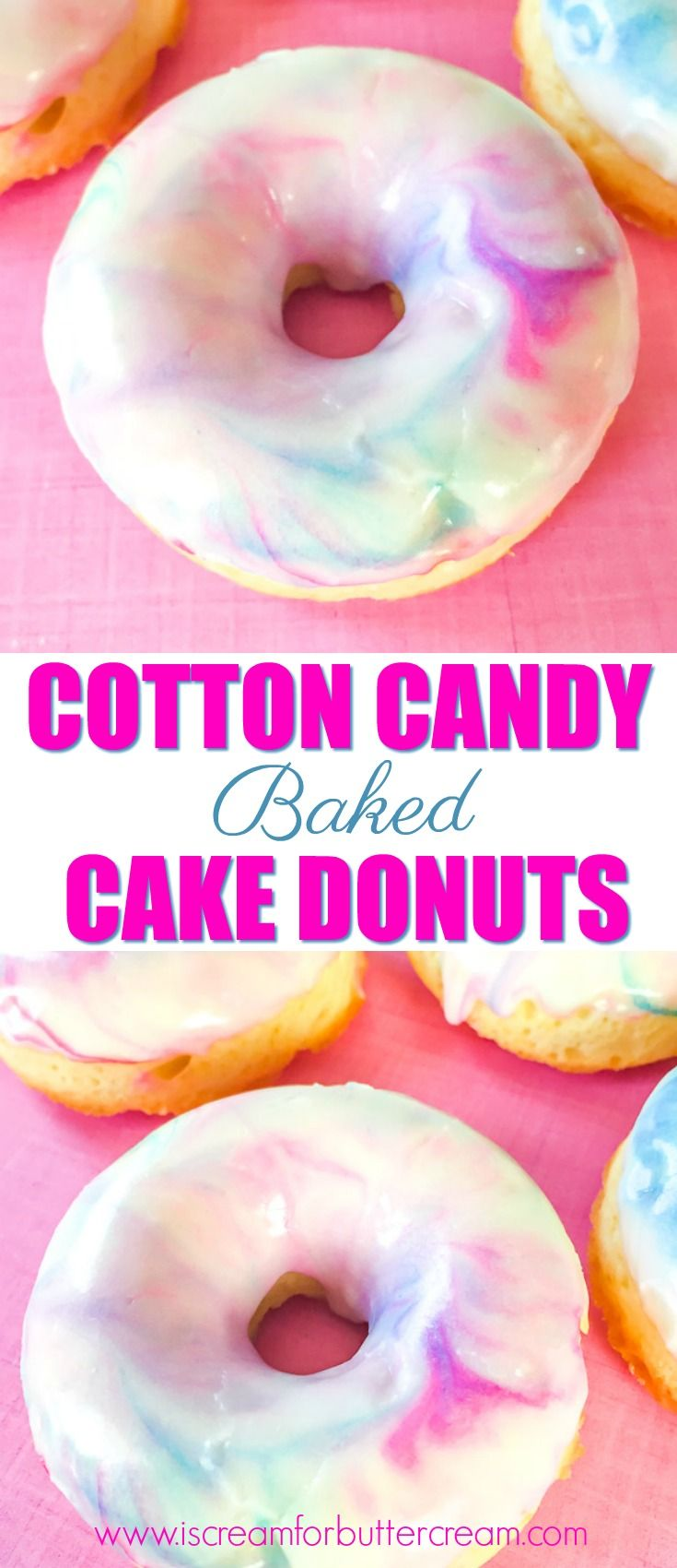 Cotton candy baked cake donuts are delicious AND pretty. They've got a light cotton candy flavor and are baked, not fried, and super easy to prepare. via @KaraJaneB