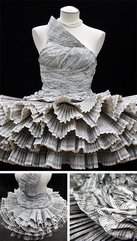 Newspaper dress. I actually can't say this is the first time I've heard of this. I have some crafty friends. :)