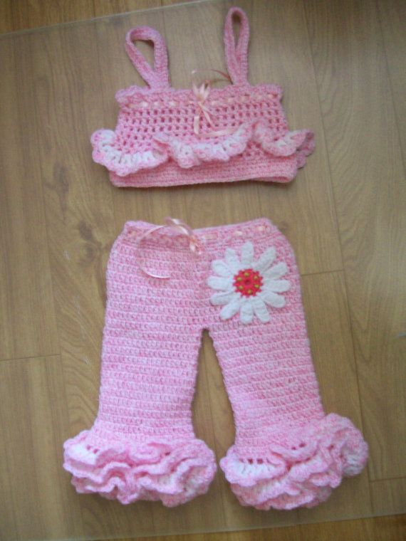 Babys Ruffled Pink Pant Set A Crochet Pattern That Is