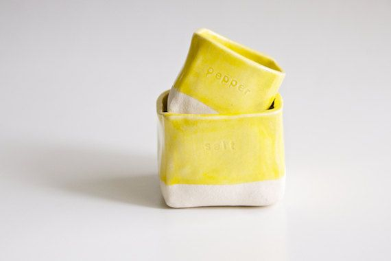 Salt and Pepper Nesting Cellars in Yellow by RossLab on Etsy, $30.00
