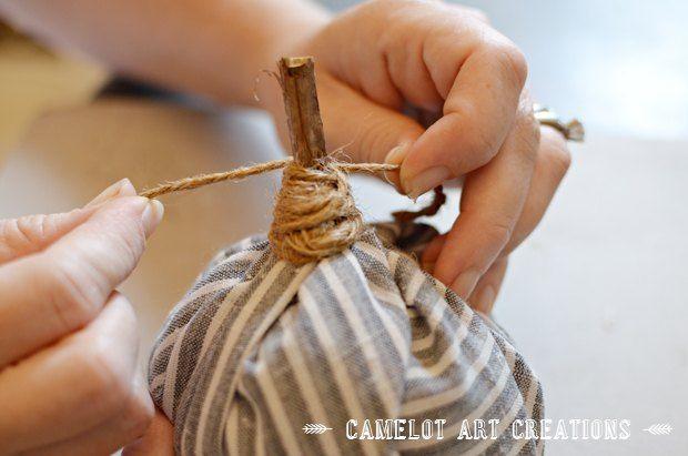 The No-Sew Trick to Making Mini Fabric Pumpkins