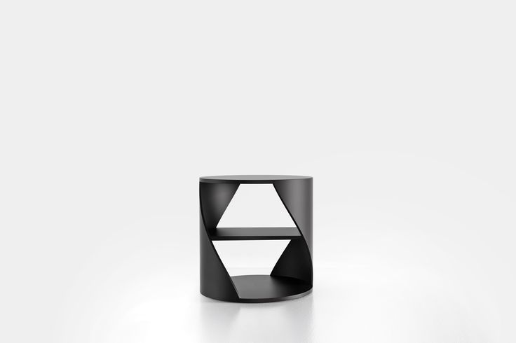 Cylindrical side table with a middle shelf, from the collection MYDNA designed by Joel Escalona. Made of wood and heavy-duty fibers. Finished in natural wood or semi-gloss lacquer. MYDNA Table Black #Table #Sidetable #furniture #design #nono #coolinteriors