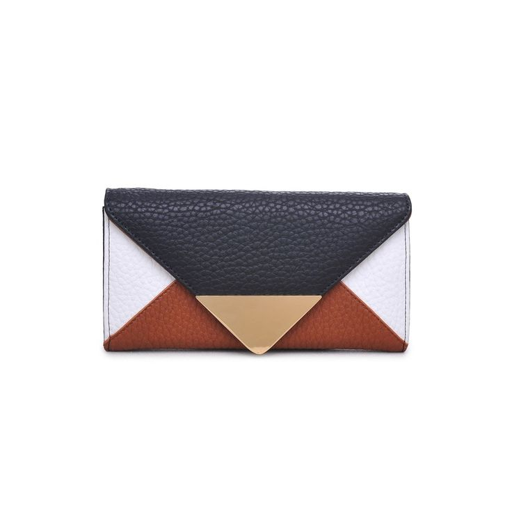 We are loving this chic new vegan leather wallet! The Cooper Wallet is on trend and chic with dark shades of camel, white and black! - Bag Type: Wallet - Material: Pebbled Vegan Leather - Closure: Sna