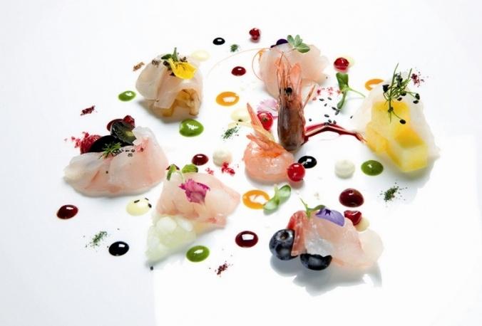 """""""Carpaccio fantasia"""" (raw fish) by Viviana Varese, Chef Alice restaurant - Milan (Italy)"""
