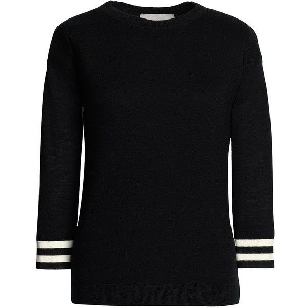 Canvas by Lands' End Women's Tipped Cuff Cashmere Sweater ($140) ❤ liked on Polyvore featuring tops, sweaters, wool cashmere sweater, drape sweater, preppy sweaters, drapey top and cashmere tops