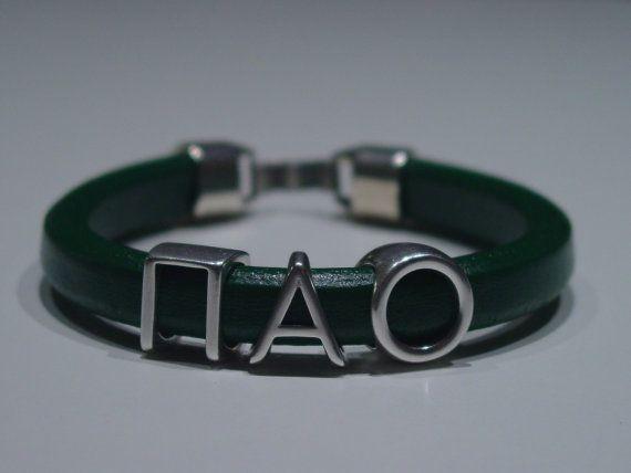 PAO Green Leather Handmade Mens Bracelet Greek by LindosArt