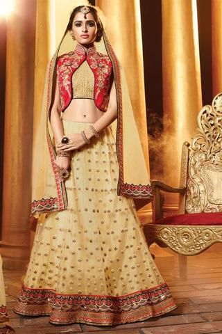 Cream Netted Fabric Designer Bridal Lehenga Choli Online ,Indian Dresses - 1