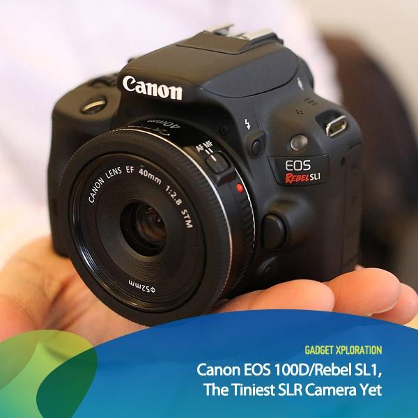 """Ada berita keren nih di #GadgetXploration kali ini! Canon meluncurkan kamera digital SLR dengan ukuran terkecil di dunia! Nama dari kamera ini adalah Canon EOS 100D atau juga disebut dengan nama Rebel SL1. Huruf SL disini merupakan singkatan dari kata """"Super Lightweight"""" karena beratnya yang hanya 396 gram. Ukurannya saja muat dalam satu genggaman tangan."""
