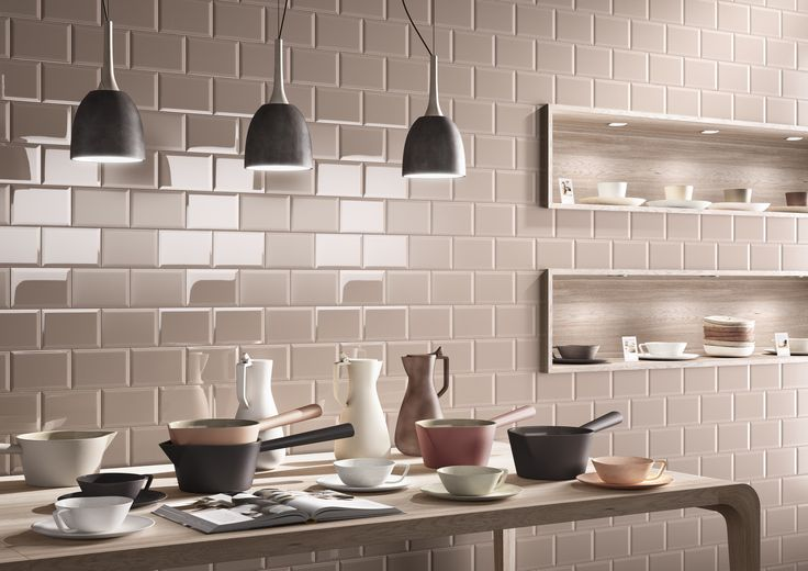 Love the mix of glossy and mat tiles!  Kitchen tiles, bathroom, mat, glossy. cream