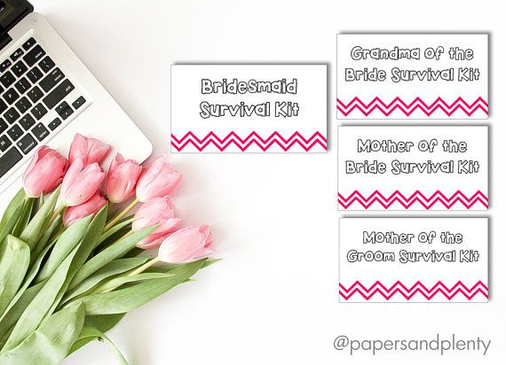 Include these cute and simple chevron tags with your survival kits, perfect for your bridal party and parents of the bride or groom! This is a digital file, choose quantity before ordering. Colors can be customized just leave a note in the message box before purchasing with the following:  1. 1 color for the chevron pattern 2. How many you need with each title (example: 1 Maid of honor, 4 bridesmaid, 1 mother of the bride etc.)  Once payment is confirmed, a proof will be sent via email and…