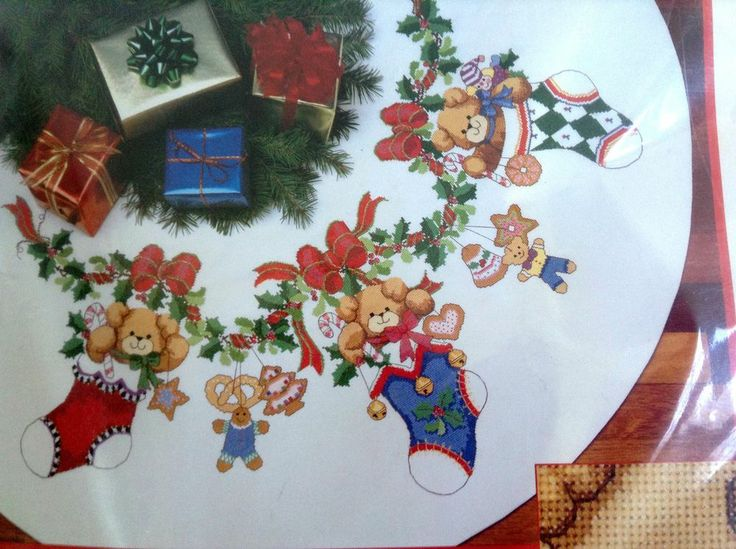 Counted Cross Stitch Kit Merry Bears Tree Skirt #8444 NIP 1993 Dimensions #Dimensions