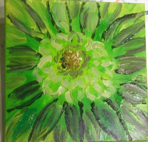 Green floral #originalart #acrylic #floral