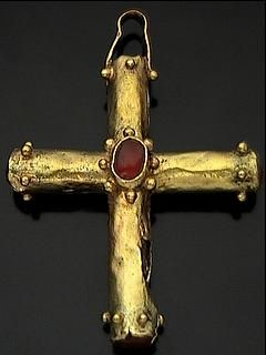 Byzantine gold cross.  6th or 7th Century.  Set with carnelian.