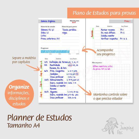 A4 - Planner de Estudos, PDF imprimível, Printable - Organize a sua vida universitária, datas de provas, planejamento de estudos e mais. Faculdade, universidade, estudante, estudos