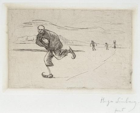 """Death is Skating"" by Hugo Simberg (n.d.); etching with drypoint."