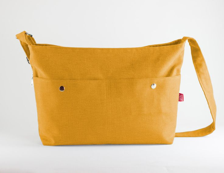 Yellow, Messenger Bag, Big Pocket, Unisex, College Bag, Crossbody, Long & Adjustable Strap, Handmade, Large Bag, Zippered Pocket, School Bag