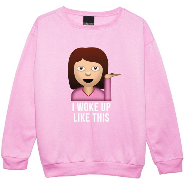 Emoji Girl Sweater Jumper Funny Fun Tumblr Hipster Swag Grunge Kale... ($25) ❤ liked on Polyvore featuring tops, t-shirts, black, sweatshirts, women's clothing, punk rock tees, punk tees, punk t shirts, hipster t shirts and hipster tops