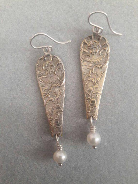 dangle earrings sterling silver ear wires Silver Earrings silverware handle earrings vintage silverware earrings