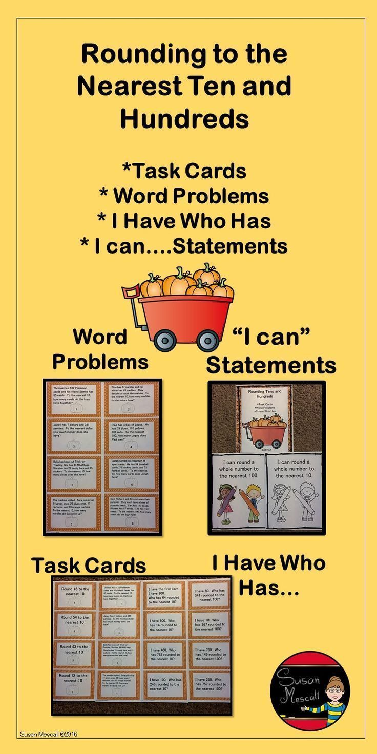 $ Here's a math product that will help your students master rounding to the nearest ten and hundred  with both word problems and task cards!  Click for more details.  Susan Mescall