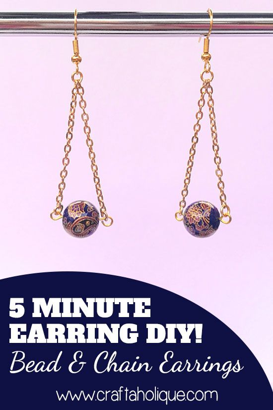 How to make pretty bead and chain earrings. This is a quick jewelry-making project that will only take you 5 minutes to make! #craftprojects #beading #jewelry