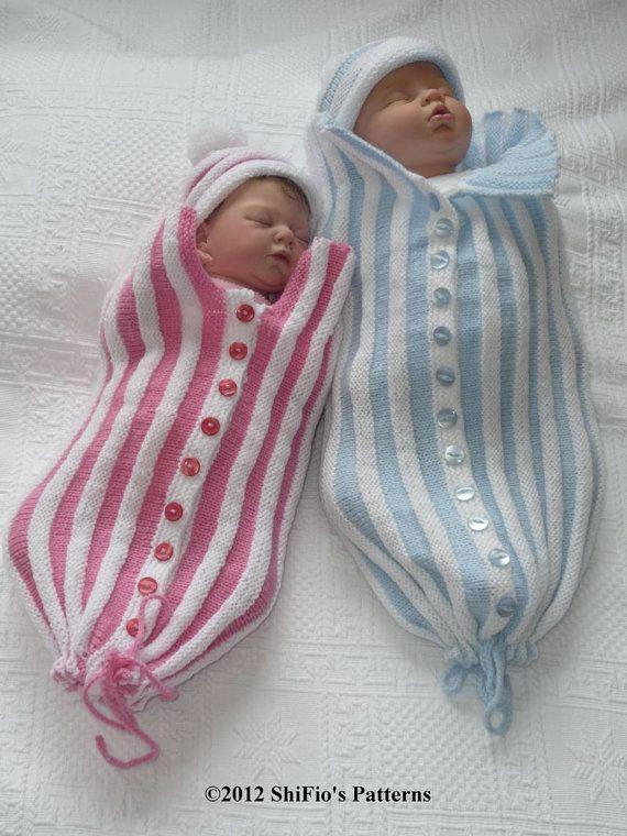 Baby Knitting Pattern Papoose, Cuddle Sac, Cocoon, Knitting Pattern 3 Sizes DIGITAL DOWNLOAD 221