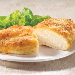 Parmesan Crusted Chicken:  1/2 cup mayonnaise  1/4 cup grated Parmesan cheese  4 boneless, skinless chicken breast halves  4 tsp. Italian dry bread crumbs    Combine the mayo and Parmesan -- spread over chicken, sprinkle with bread crumbs, bake 20 min at 425F