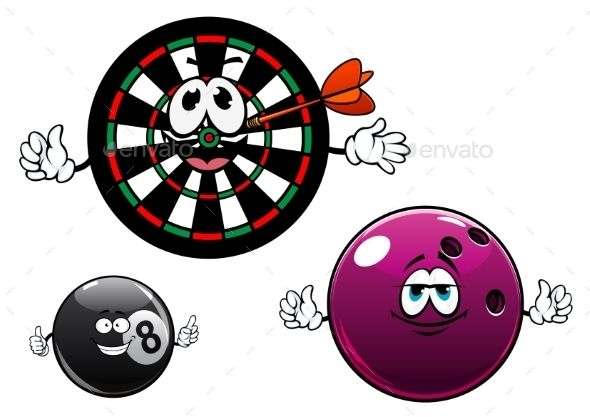 Cartoon Bowling, Billiard And Dartboard Characters