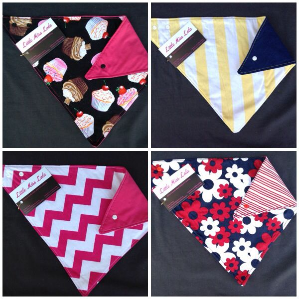Reversible bandana bibs with bamboo inner. Go to www.facebook.com/littlemisslolas to see more & read why bamboo is so great!