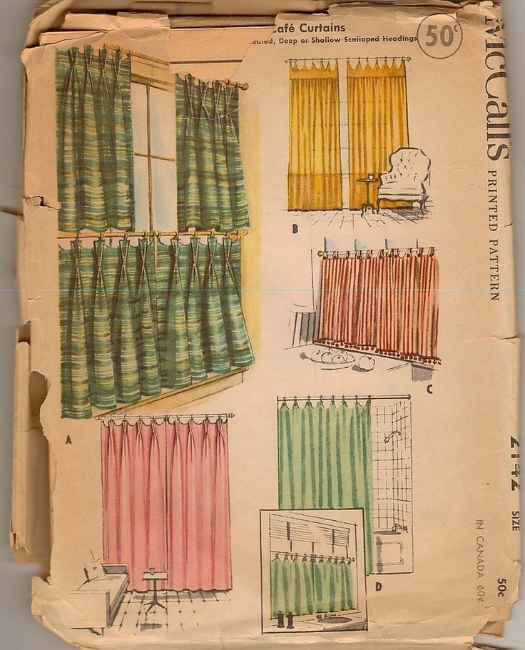 1957 Vintage Curtain Decorating Pattern McCalls 2142 Cafe Curtains