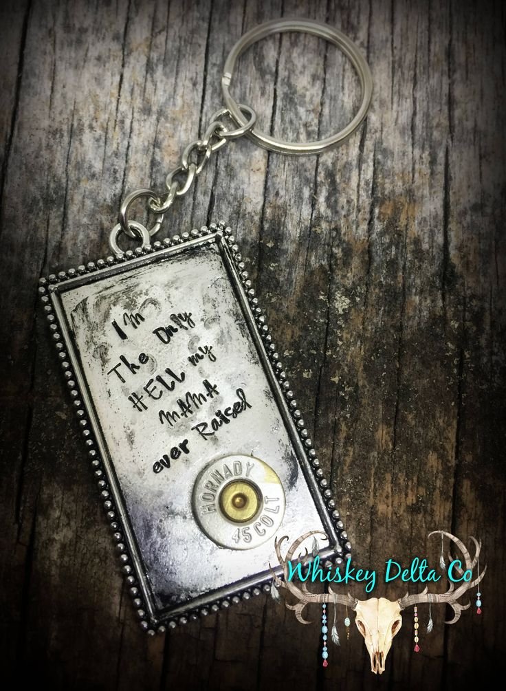 Hank Williams Gifts - Johnny Paycheck - I'm The Only Hell My Mama Ever Raised - Country Keychains - Gun Lover Gifts - New Car Gifts - Ammo by WhiskeyDeltaCo on Etsy https://www.etsy.com/listing/516490778/hank-williams-gifts-johnny-paycheck-im