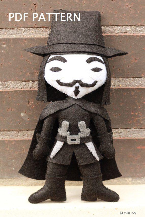 Pdf Pattern To Make A Felt V V For Vendetta O Guy Fawkes Felt Dolls Handmade Felt Ornament Halloween Sewing