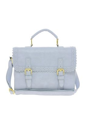 ASOS Satchel Bag With Scallop Trim And Buckles. Baby blue, adjustable strap bag.