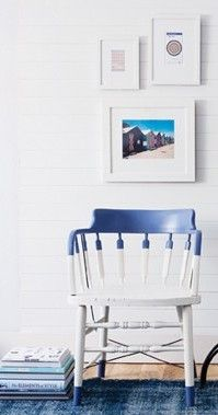 Use inexpensive, mismatched flea market chairs, paint them white and then dip either their arms, legs, or seats in color…