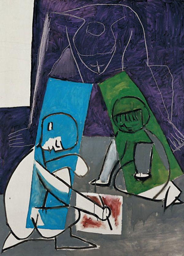 1954 Картина Пабло Пикассо. Женщины и дети, рисование. 1954