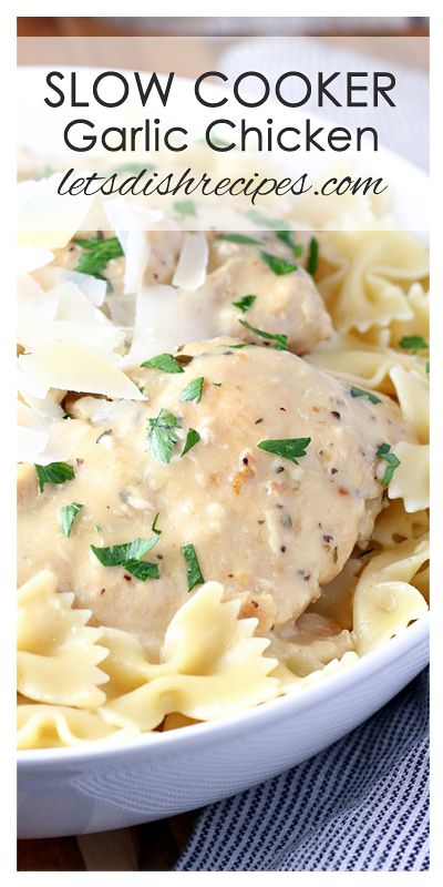 Creamy Slow Cooker Garlic Chicken Recipe   This Crock Pot dinner is easy enough for a week night meal, but fancy enough for company!