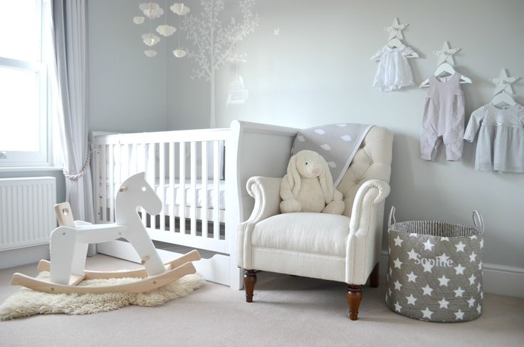 Lifestyle blogger gives a tour around her baby's grey and white nursery.