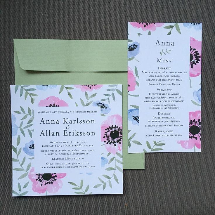 Anemoner - Nytt kort! Inbjudningskort och menykort/placeringskort. #menykort #placeringskort #bröllopsinbjudan #bröllopsinspiration #inbjudningskort #inbjudan #akvarell #illustration