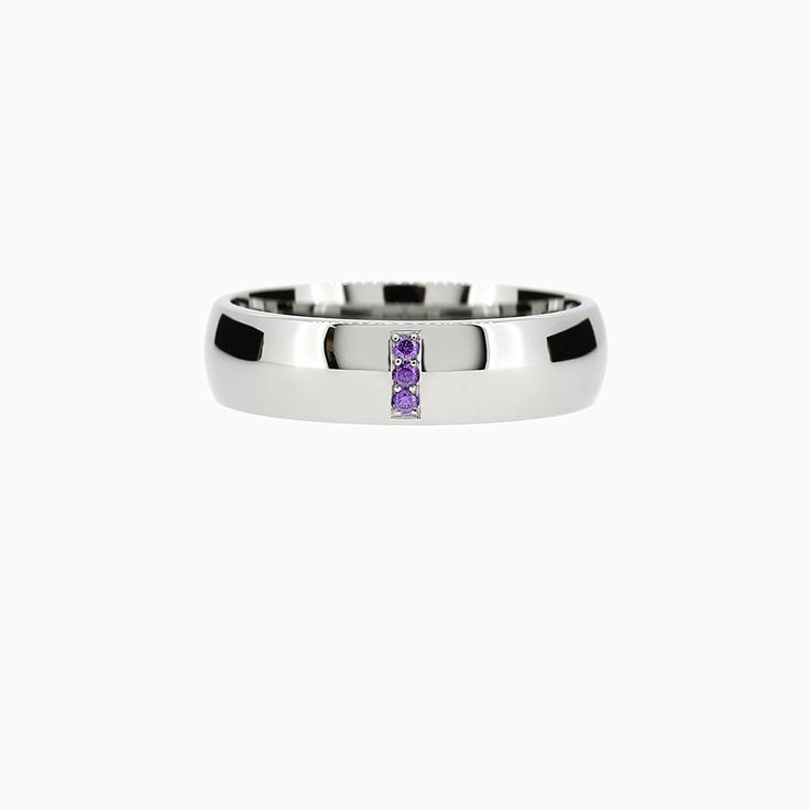 Line Classic Ring with Amethyst in Palladium