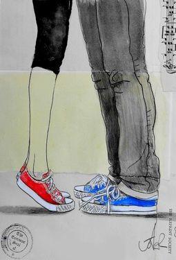 "Saatchi Art Artist Loui Jover; Drawing, ""red,white & blue"" #art"