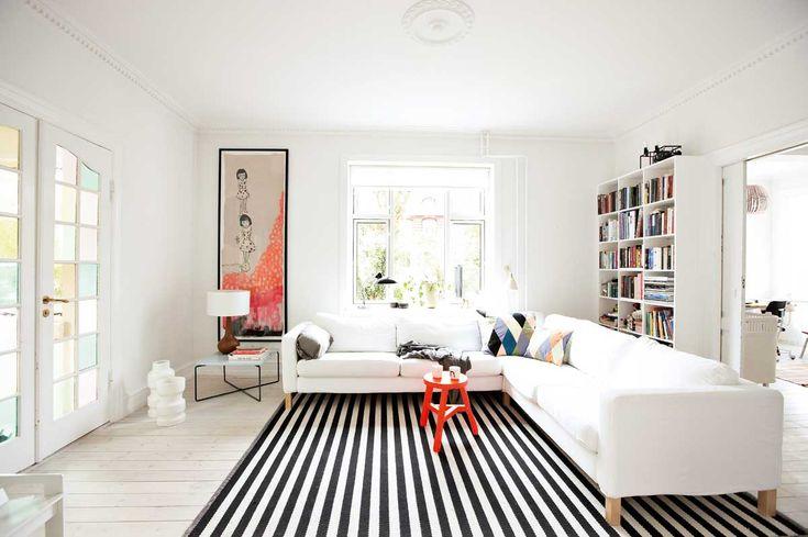 black and white stripe rug: Living Rooms, White Living, White Sofas, Black And White, Area Rugs, Interiors, Stripes Rugs, Design Studios, Black White Stripes