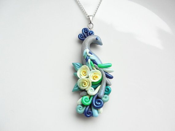 Peacock necklace handmade from polymer clay by fizzyclaret (Inspiration)