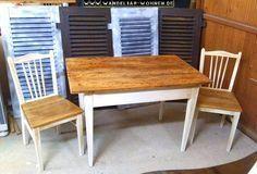 Essgruppe Shabby Chic, Landhaus-Stil, selber machen, DIY, Tisch abschleifen, Stuhl streichen, Milk Paint, Kreidefarbe, Chalk Paint, Shabby Chic, Möbel richten, Möbel bearbeiten, Möbelbearbeitung, aus alt mach neu