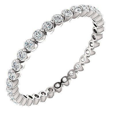 100% Natural 1.00 ct. Round Brilliant Cut Diamond Eternity Ring Bezel Set 14K