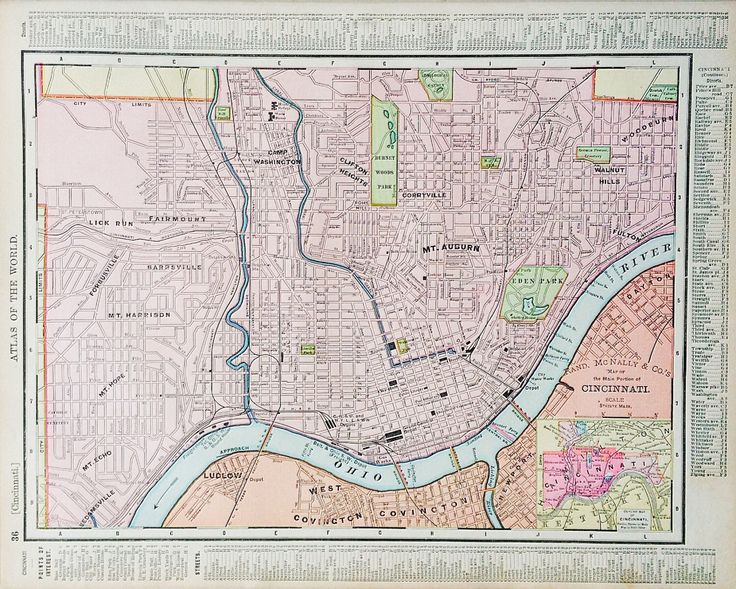 Cincinnati Map, Antique Map of Cincinnati, Ohio, Original 1899 Atlas Page, Ohio Map on Reverse by 815VintageGoods on Etsy https://www.etsy.com/listing/270655254/cincinnati-map-antique-map-of-cincinnati