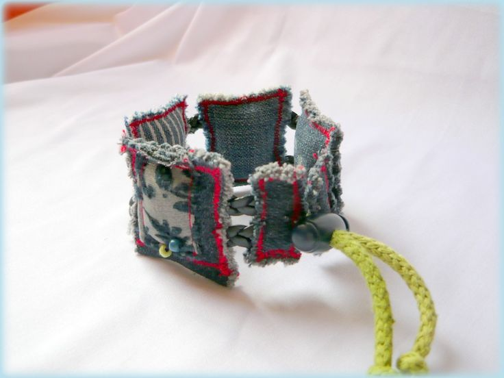 Handmade by Judy Majoros - Denim- Fabric- square bracelet, Recycled bracelet