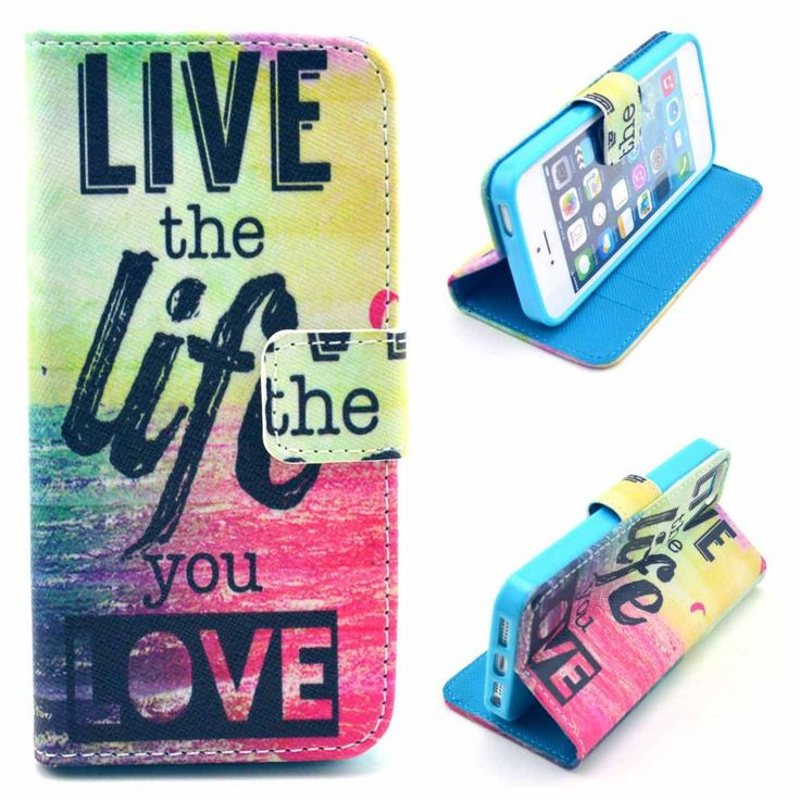 Live the Life You Love bookstyle hoesje voor iPhone 5 / 5S