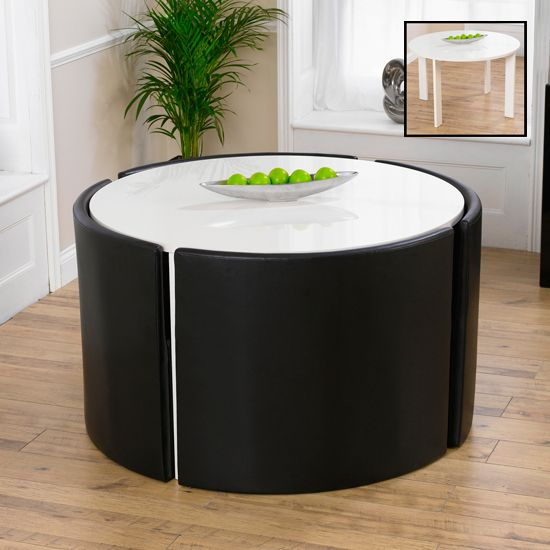 Lexus Gloss White Round Dining Table And 4 Black Sophia