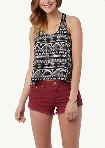 Black & White Tribal Crochet Chain Tank- 16.99 (SO CUTE with burgandy shorts/jeans)
